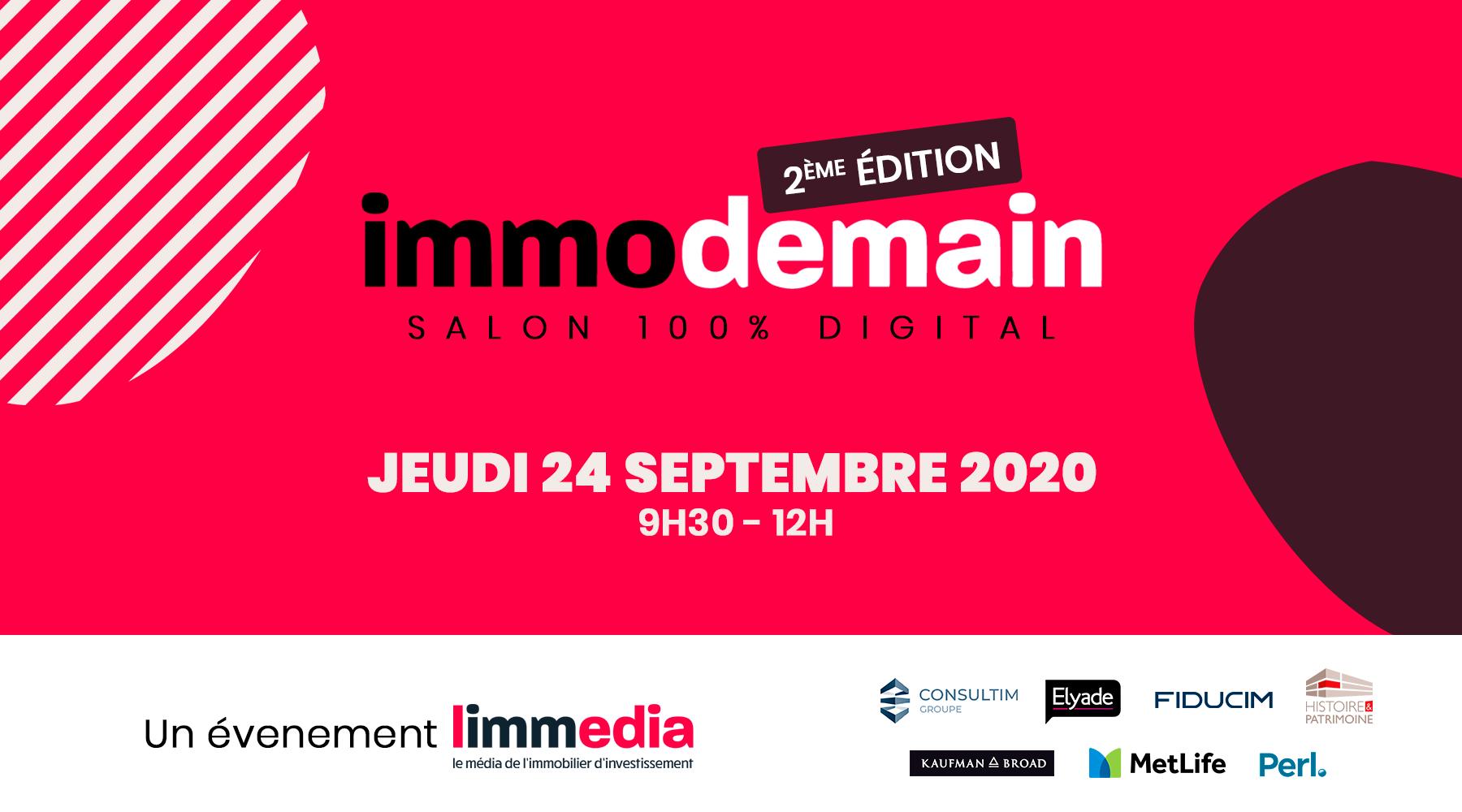 Salon Immo Demain 100% digital : S'inscrire à la 2ème édition, le jeudi 24 septembre 9h30-12h30